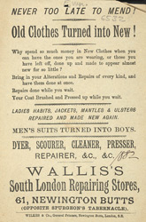 Advert for Walliss's South London repairing store